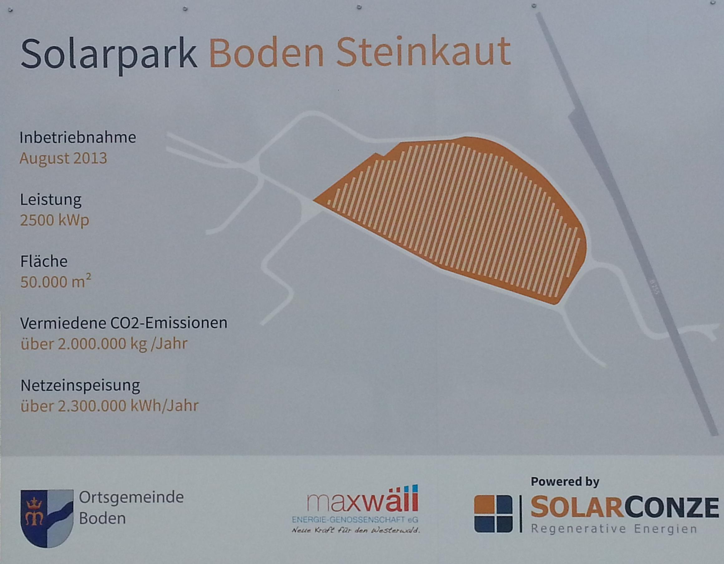 Tafel am Haupteingang des Solarparks Boden Steinkaut